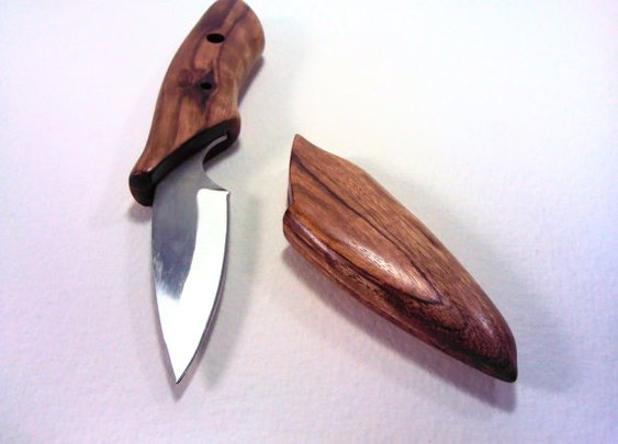 Small Knife with Handmade Wooden Handle & Sheath by WoodAndBlade