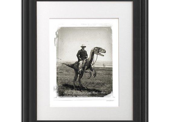 Teddy Roosevelt On A Velociraptor