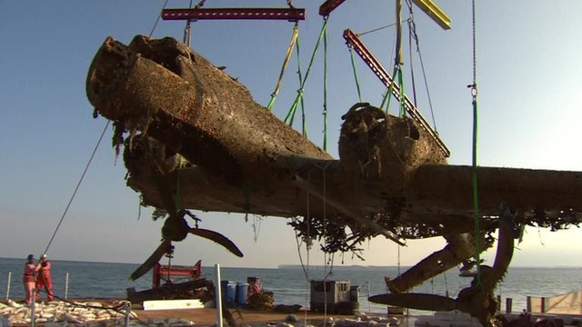 WWII Dornier bomber raised from English Channel