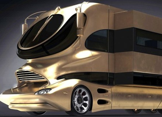 Arab Sheikhs bought super luxury motorhome gold plated for $3M, complete with cocktail bar and roof terrace   NSTAutomotive
