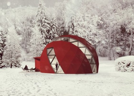 NRJA reveals plans for an off-the-grid foldable geodesic dome house