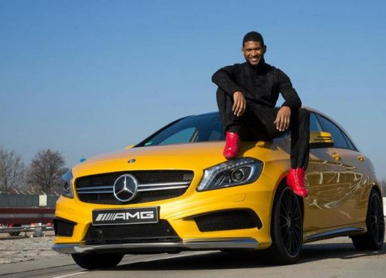 Usher loves his new toy, Mercedes-Benz A45 AMG.   NSTAutomotive
