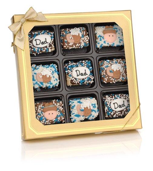 usa Chocolate  - Father's Day Chocolate Dipped Mini Crispy Rice Bars- Window Gift Box of 9