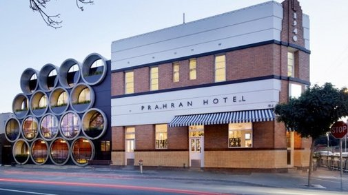 Prahran Hotel's facade is made from huge concrete pipes
