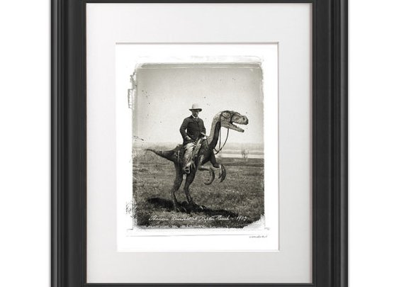 Teddy Roosevelt Riding a Velociraptor at Raptor