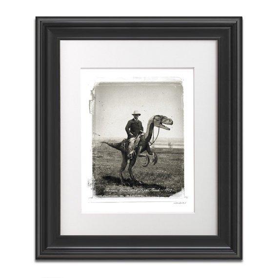 Teddy Roosevelt Riding a Velociraptor at Raptor