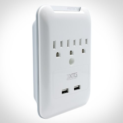 Slim Wall Plate and Surge Protector - 3 AC + 2 USB
