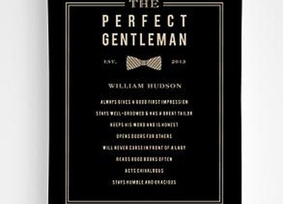 "Personalized ""Perfect Gentleman"" wall art"