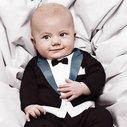 Baby Boy Romper Jumpsuit Tuxedo with Print Bowtie