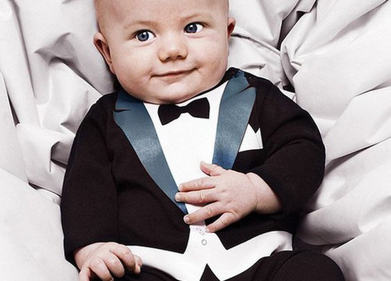 Baby Boy Romper Jumpsuit Tuxedo with Print Bowtie