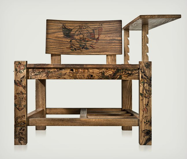 The Tattoo Chair - Wood Chair Covered in Tattoo Art | Cool Material