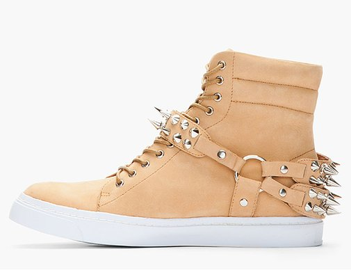Light Brown Nubuck Spike Sneakers by Jeffrey Campbell