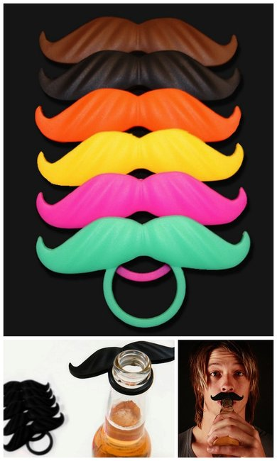 The BeerMo: Beer bottle accessories give the drinker a mustache