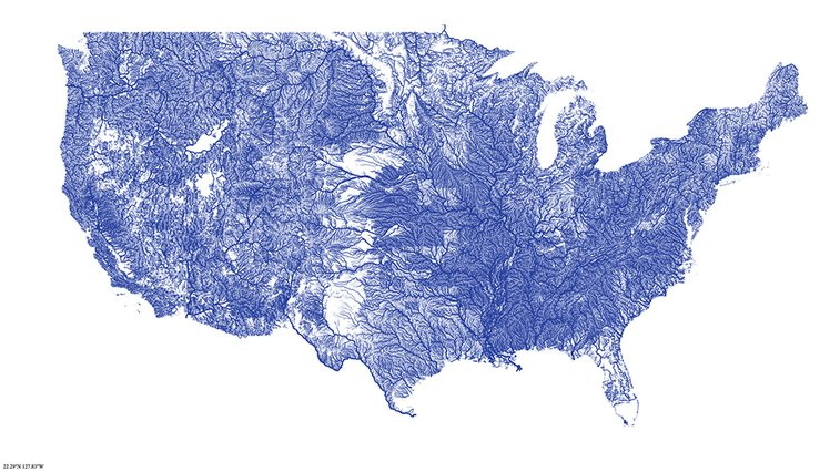 All the Rivers in the US Look Like Veins With Blue Blood