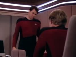 Riker always sits down with the leg over the backrest.