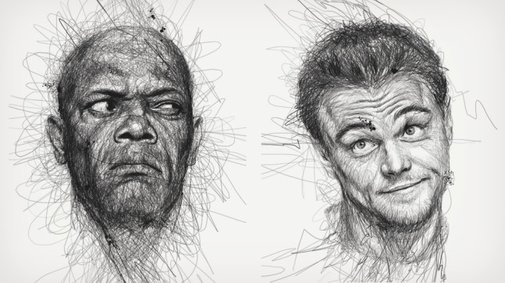 "Vince Low's ""Faces"" Scribble Portraits 