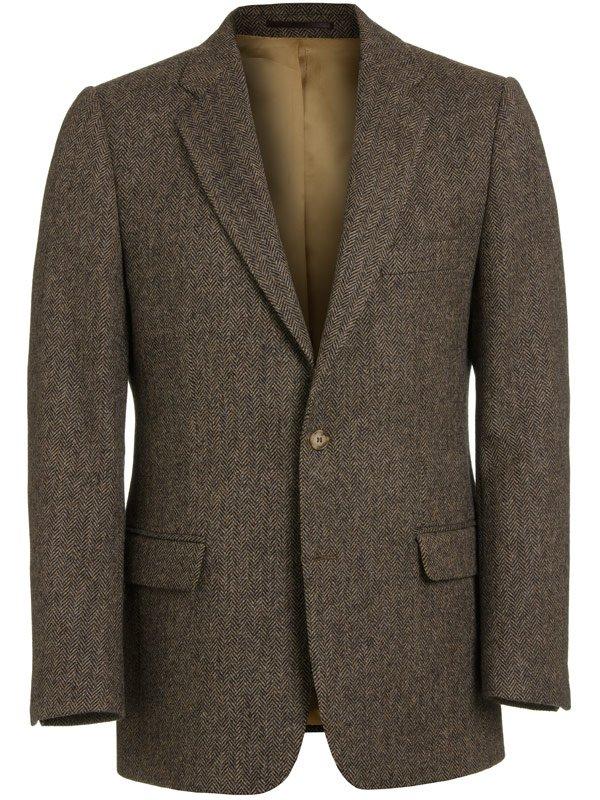 Magee Men's Jacket - Donegal Tweed Brown Herringbone