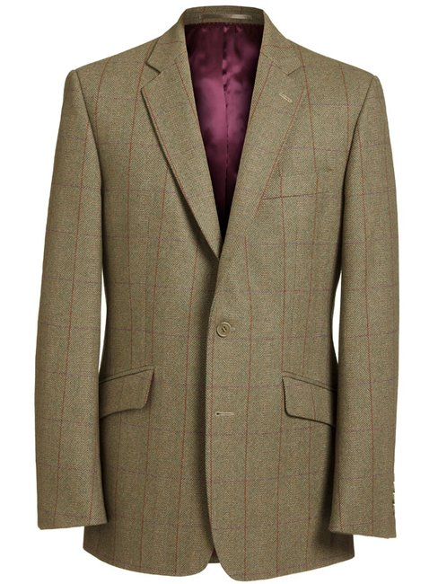 Magee Men's Jacket - Green Herringbone with Purple & Red Check -