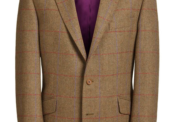 Magee Men's Jacket - Brown Herringbone with Purple & Red Check -