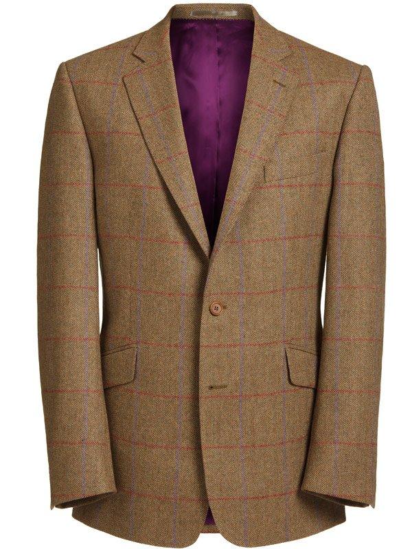Magee Men's Jacket - Brown Herringbone with Purple & Red Check -