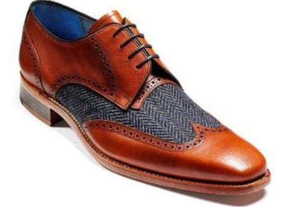Barker Shoes - Jackson Cedar Calf Leather / Blue Tweed | Made in UK