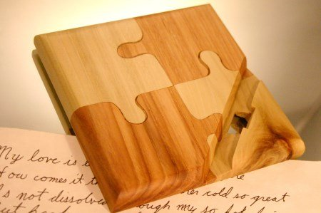 Kindle, tablet or iPad stand in handcrafted puzzle by Hope & Grace Pens