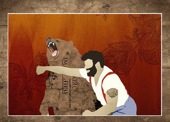 Man Punching Bear Wall Art