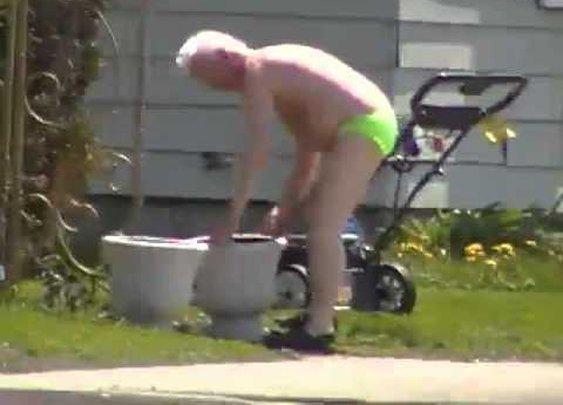 Hot Guy in Speedo mowing lawn! - YouTube