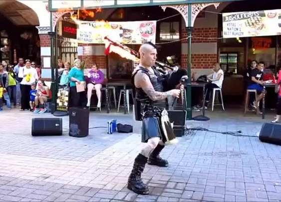Flame Throwing Bagpipes play AC/DC