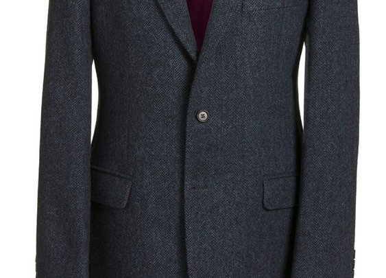 Magee Men's Jacket - Donegal Tweed Navy Herringbone - Magee1866