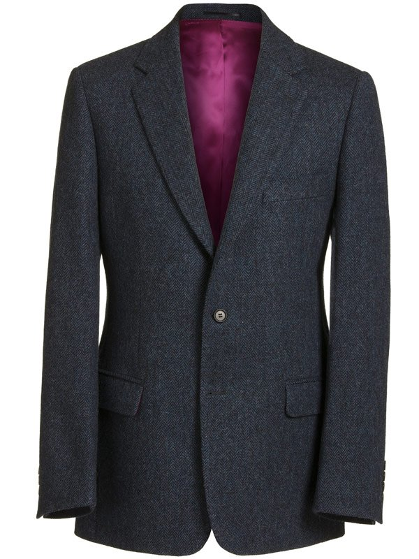 Magee Men's Jacket - Donegal Tweed Navy Herringbone - Magee1866