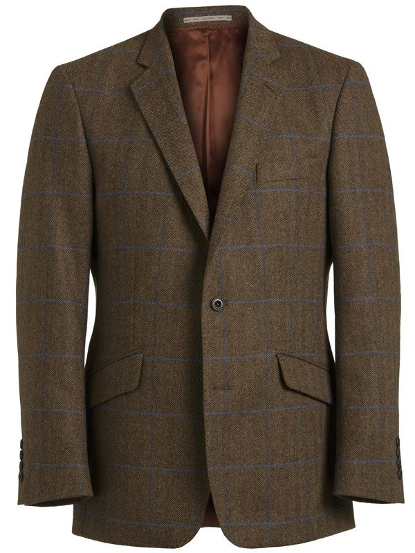 Magee Men's Dillon K2 Jacket - Green Tweed with Navy & Blue Check