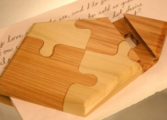 Kindle, tablet or iPad stand handcrafted puzzle by Hope & Grace Pens