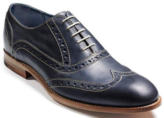 Barker Shoes - Grant - Blue Burnished Calf- Brogue -