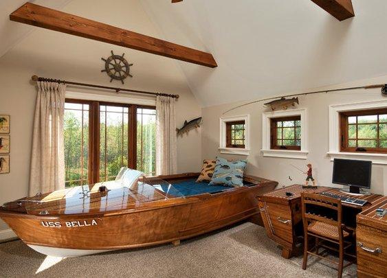 Bed and desk built from original mahogany 1945 boat