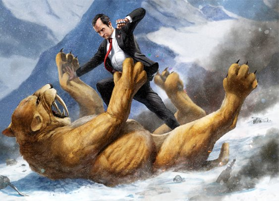 Richard Nixon Fighting a Giant Saber-Toothed Tiger