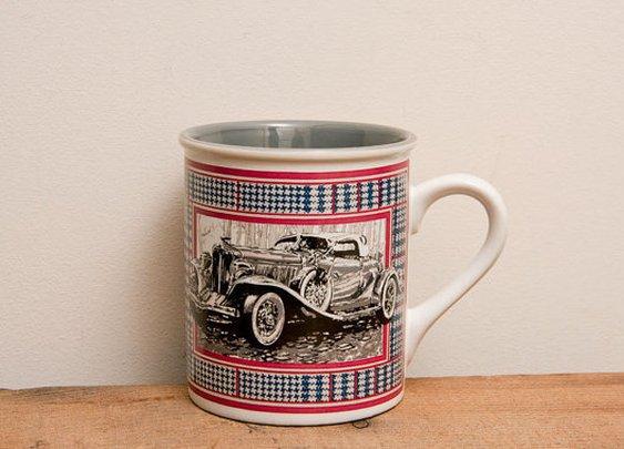 Rolls Royce Vintage Mug  Enesco 1988 QuickSilver red by MollyFinds