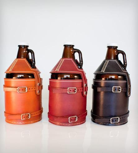 Leather Bike-Mounted Growler Carrier