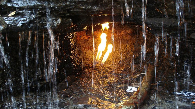 This Eternal Flame Burns as a Result of Natural Fracking