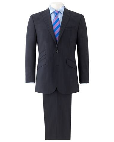 Navy Stripe Two Button Tailored Suit - Suits - The Savile Row Company