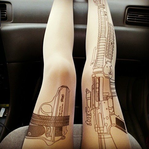 Guns Pattern Fashion Tattoo Stockings