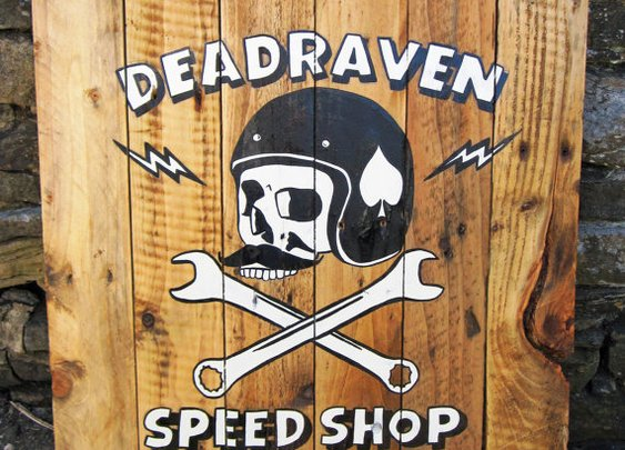 DEADRAVEN Manufacturing Co. | Hand painted on hand made wooden sign. Click Here...