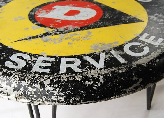 dunlop sign coffee table by something or other | notonthehighstreet.com