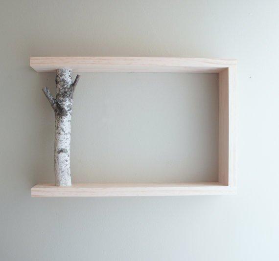 white birch forest wall art/shelf