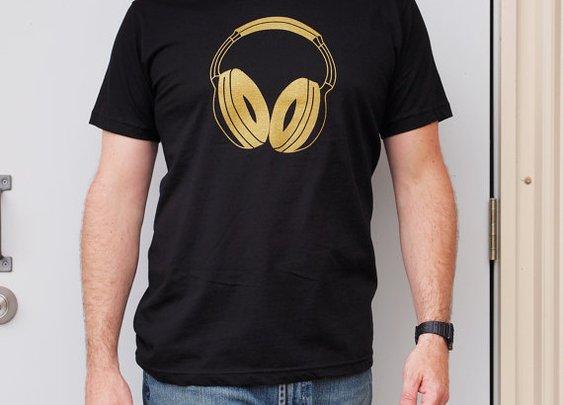 Gold Headphones men's small black tshirt dj by blackbirdandpeacock