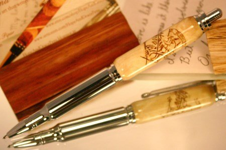 Bullet Pen in white camphor with Marine eagle by Hope & Grace Pens