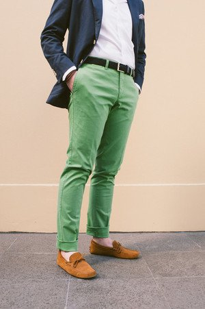 Green Cotton Chinos