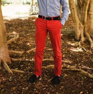 Red Cotton Chinos