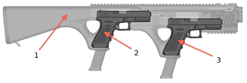 Never-Empty Double Gun (NEDG) Carbine Stock For Two Pistols