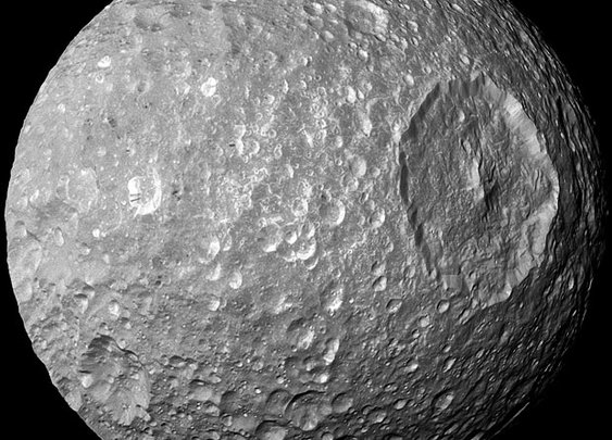 Saturn Moon Resembles the Death Star